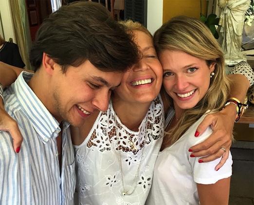 Donata com a filha Heleninha e o genro Humberto