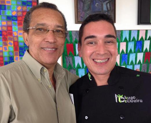 Amaro Leandro Barbosa e o chef Hugo Oliveira
