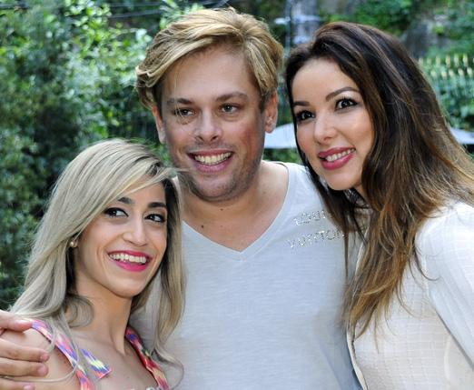 Bruno entre Danielle Hypólito e a cantora Liah Soares