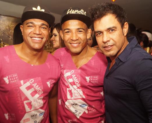 O ex-jogador Denilson, José Aldo e Zezé Di Camargo