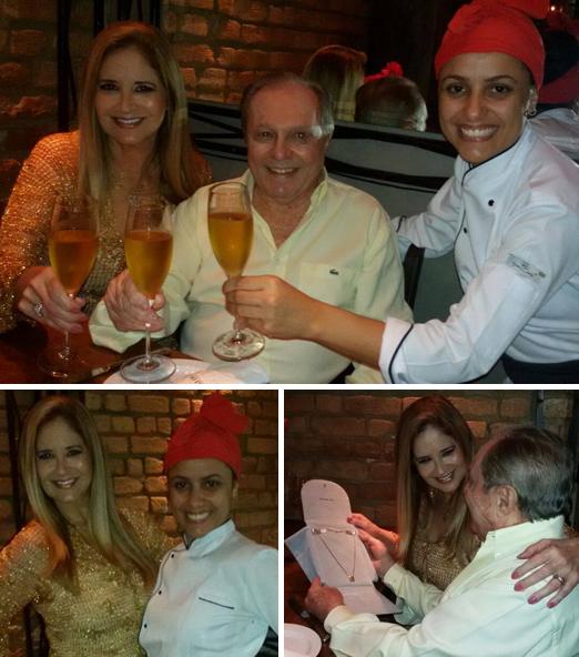 Aniversário de Gisela com o marido Ricardo e a chef Mirka Lage