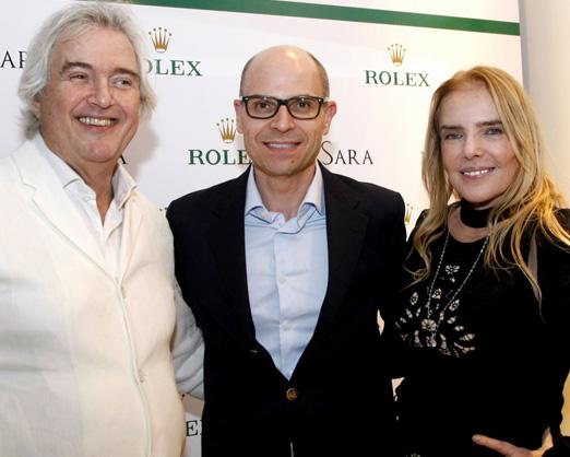 Stephan Meili, CEO da Rolex, entre os irmãos David e Laja Zylberman