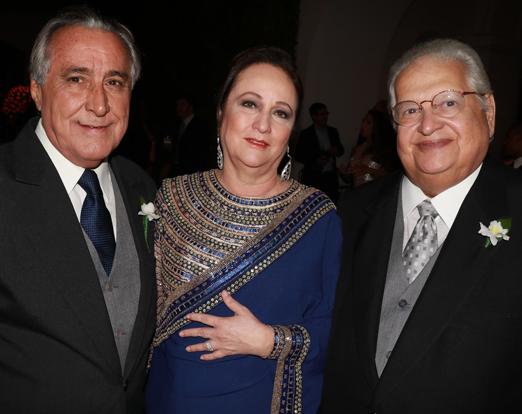 Leleco Barbosa com o casal Beth e Carlos Alberto Serpa