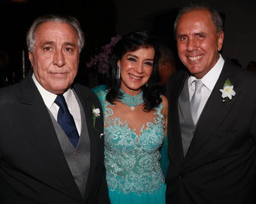 Leleco Barbosa com o casal Monica e Sergio Clark