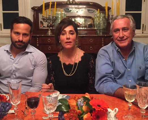 Christiane Torloni entre Marcelo Calero e Leleco Barbosa