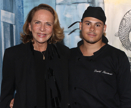 Lenny Niemeyer e o chef David Nascimento