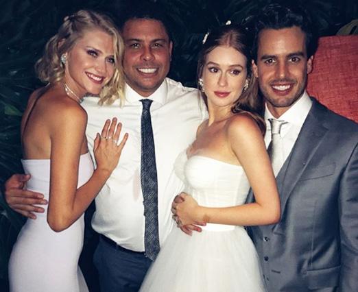 Celina Locks e Ronaldo Nazário com os noivos