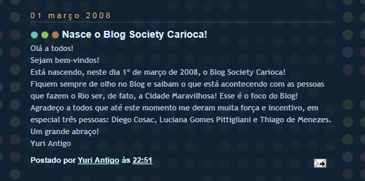 Primeiro post do Society Carioca